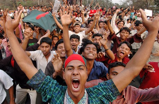 Wild celebration after the historic win against Sri Lanka. © AP Photo