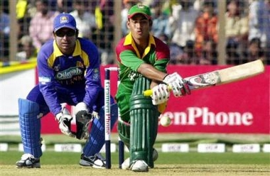 Mohammad Ashraful on the way to a 67 ball 64 in the decider against Sri Lanka
