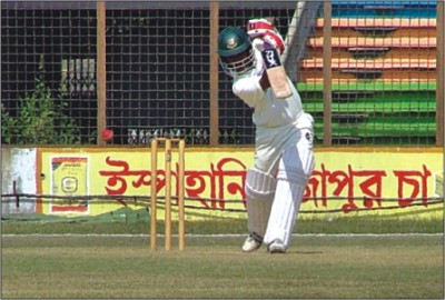 Mohammad Ashraful of Dhaka drives one on the way to scoring a massive 263 in a partnership of 420 with Marshall Ayub (145) in their National Cricket League match against Chittagong. � DS