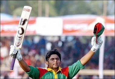 Shahriar Nafees marks his century against Zimbabwe during the 1st ODI at Khulna.