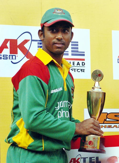Aftab Ahmed holds the Man Of The Series trophy after Bangladesh's 2-0 win over Scotland, Bangladesh v Scotland, ODI 2, SBNS, Mirpur