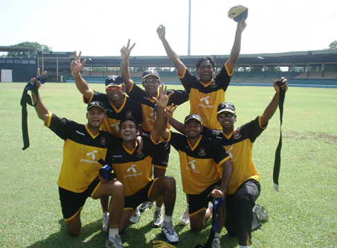 The bowlers rejoice after beating the batsmen in a rugby game ahead of the 2nd Test versus Sri Lanka. © TigerCricket.com