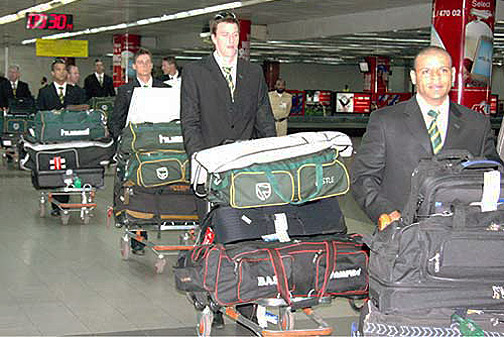 The South African team arrives in Dhaka ahead of the 2-Test and 3-ODI series
