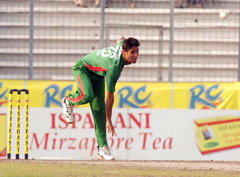 Man of the match Farhad Reza bowling during his spell of 5/42 against Ireland in the second ODI of the Ispahani Tea Series at the Sher-e-Bangla National Cricket Stadium today. �TigerCricket.com