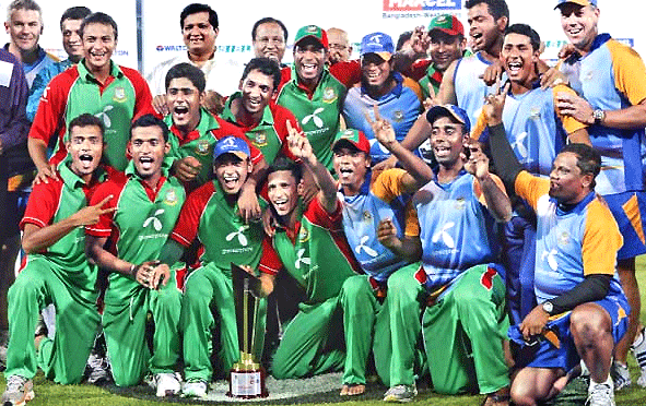 The victorious Bangladesh team celebrating their T20 International win against the West Indies